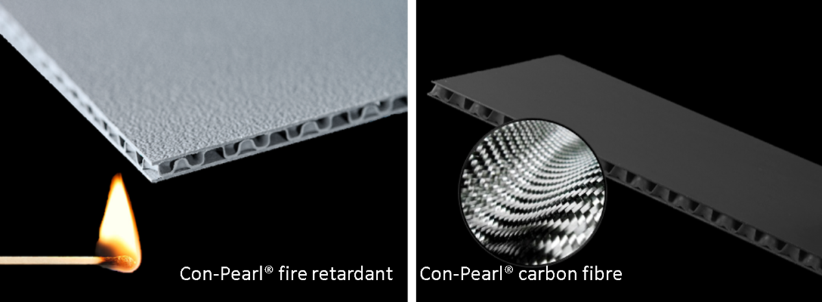 Con-Pearl fireretardant and carbon fibre reinforced polypropylene